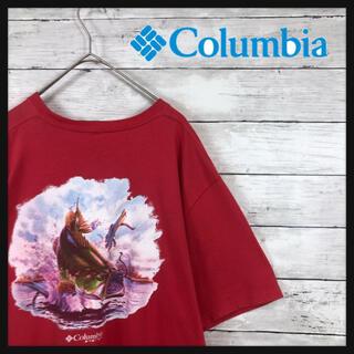 Columbia - 【90.s コロンビア】アニマル柄プリントバックプリントブラックバス Tシャツ