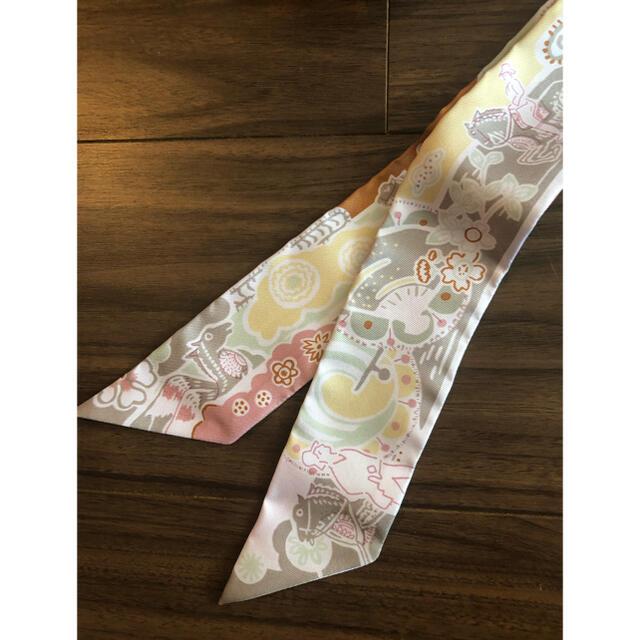 Hermes(エルメス)の新品未使用 エルメス 今期 ピンク ツイリー ハンドメイドのファッション小物(スカーフ)の商品写真