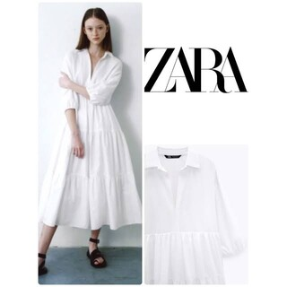 ZARA - ZARA コットンワンピース パネルミディワンピース ホワイト 白