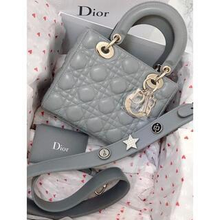 ディオール(Dior)の美品Dior レディディオール ハンドバッグ ショルダー  ブラック ラムスキン(ショルダーバッグ)