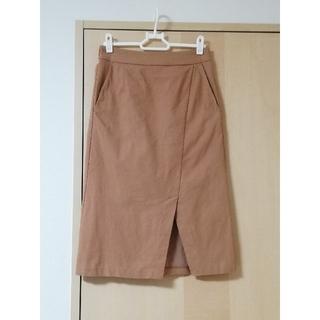 センスオブプレイスバイアーバンリサーチ(SENSE OF PLACE by URBAN RESEARCH)の美品 ストレッチタイトスカート キャメル センスオブプレイス(ひざ丈スカート)