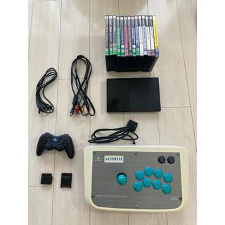 プレイステーション2(PlayStation2)のPS2 本体/ソフト14本/アケコン/ワイヤレスコントローラー セット(家庭用ゲーム機本体)