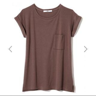 グレイル(GRL)のロールアップ袖ポケット付きTシャツ★モカ(Tシャツ(半袖/袖なし))