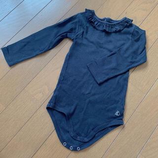 プチバトー(PETIT BATEAU)の美品 プチバトー ラメ生地 ロンパース 24m 86㎝(ロンパース)