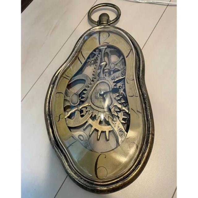 【新品】アートな壁掛け時計 アンティークゴールド インテリア/住まい/日用品のインテリア小物(掛時計/柱時計)の商品写真