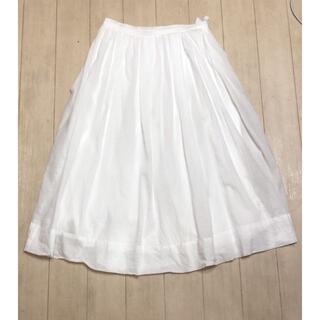 リエンダ(rienda)のrienda*コットンフレアスカート*ホワイト(ひざ丈スカート)