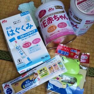 森永乳業 - 森永E赤ちゃん300g×2缶、森永はぐくみ粉ミルク13g×10本、ミトン2つ、温