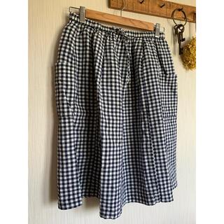 ムジルシリョウヒン(MUJI (無印良品))のリネンギンガムギャザースカート MUJI  Mサイズ(ひざ丈スカート)