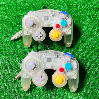 ニンテンドーゲームキューブ(ニンテンドーゲームキューブ)のGAMECUBE コントローラー クリア2個セット(家庭用ゲーム機本体)