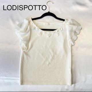 ロディスポット(LODISPOTTO)の美品 ロディスポット 白 カットソー フリル(カットソー(半袖/袖なし))