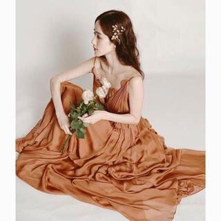 *茶色テラコッタ カラードレス 挙式ドレス 前撮り用 2次会 発表会