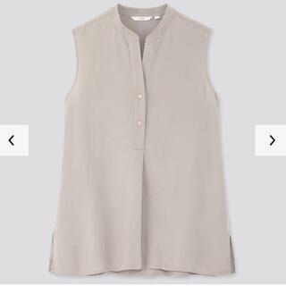 ユニクロ(UNIQLO)の【未着用タグ付き】2020年 UNIQLO リネンブレンドスキッパーシャツ XL(シャツ/ブラウス(半袖/袖なし))