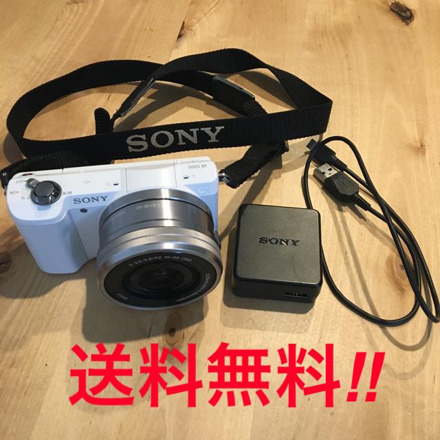 SONY(ソニー)の超美品!フリマ最安値!SONY a5000 レンズキット ホワイト 送料込み スマホ/家電/カメラのカメラ(ミラーレス一眼)の商品写真