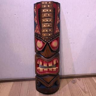 カラフルなティキ面C ティキマスク 木彫りのお面壁掛けインテリア ハワイアン雑貨(彫刻/オブジェ)