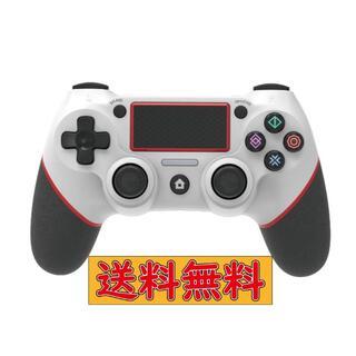 PS4 ワイヤレスコントローラー ホワイト&レッド USB付 互換品(その他)