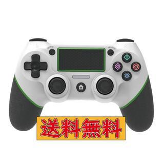 PS4 ワイヤレスコントローラー ホワイト&グリーン USB付 互換品(その他)