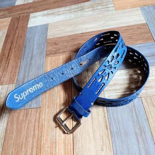 Supreme - Supreme レザー カービング ベルト ブルー