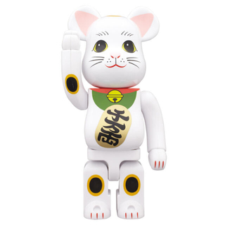メディコムトイ(MEDICOM TOY)の値下げ交渉可!BE@RBRICK 招き猫 白メッキ 発光 400%(キャラクターグッズ)