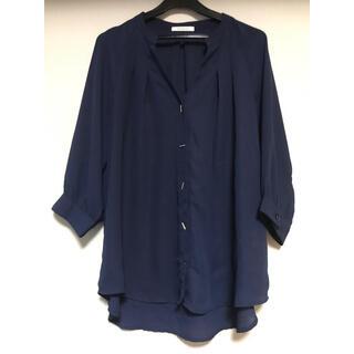 Simplicite - 七分袖とろみシャツ Vネックブラウスフリーサイズゆったりオフィススーツ