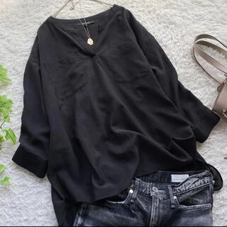 UNTITLED - アンタイトル スキッパー ブラウス 大きいサイズ ゆったり ブラック 黒