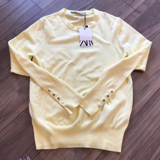 ザラ(ZARA)の新品 ZARA ザラ ベーシックニットセーター 長袖 ゴールドボタン付き(ニット/セーター)