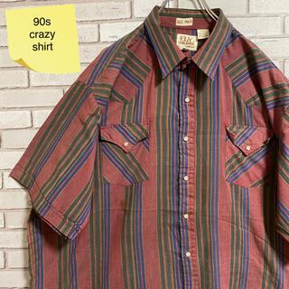 90s 古着 ヴィンテージ 半袖シャツ クレイジーシャツ ビッグシルエット(シャツ)