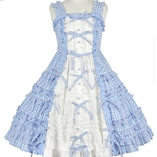 アンジェリックプリティー(Angelic Pretty)のlittle houseジャンパースカート サックス(ひざ丈ワンピース)