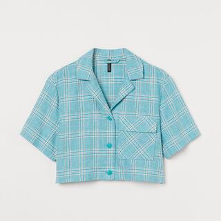 エイチアンドエム(H&M)のH&M クロップドブラウス チェック ターコイズ(シャツ/ブラウス(半袖/袖なし))