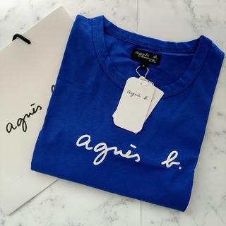 アニエスベー(agnes b.)の新品★アニエスベー半袖ロゴメンズTシャツ ブルーXLサイズ(Tシャツ/カットソー(半袖/袖なし))