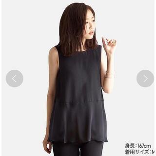 ユニクロ(UNIQLO)のUNIQLOユニクロ  新品 エアリータンクブラウス 黒 M(シャツ/ブラウス(半袖/袖なし))
