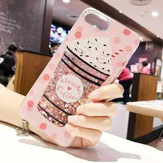 iPhone ケース カバー ピンク フラペチーノ柄 7/8 第二世代SE(iPhoneケース)