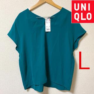ユニクロ(UNIQLO)の未使用タグ付き【UNIQLO】サイズL   Vネックブラウス(シャツ/ブラウス(半袖/袖なし))