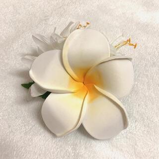 ハワイアン髪飾りフラダンス 花飾り プルメリア(白)クリップ(特大)(ダンス/バレエ)