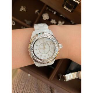 女性用 腕時計 ホワイト 石巻き レディース クオーツ