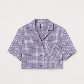 エイチアンドエム(H&M)のH&M クロップドブラウス チェックシャツ ライトパープル(シャツ/ブラウス(半袖/袖なし))