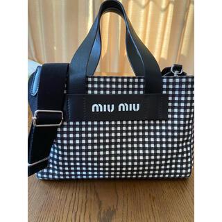 miumiu - miumiu 2wayショルダーバッグ ギンガムチェック カナパ