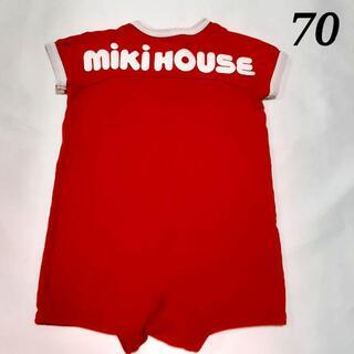 mikihouse - ミキハウス 半袖 ロンパース 赤 レッド ブランドロゴ 70 日本製