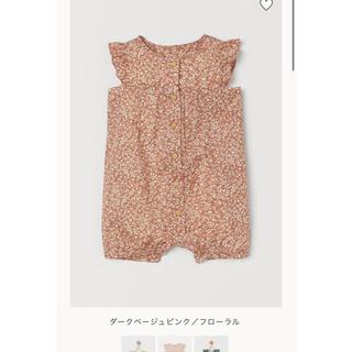 エイチアンドエム(H&M)のH&M 花柄コットンロンパース 55(ロンパース)