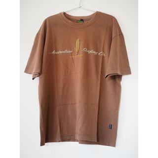 古着 Tシャツ メンズ グラフィック プリント ロゴ サーフ ブラウン