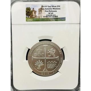 アメリカ 2019 サンアントニオミッションズ 大型銀貨 5oz  MS69(貨幣)