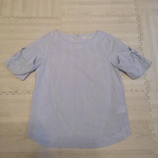 テチチ(Techichi)のTechichi ストライプ 袖リボン カットソー サックスブルー F(カットソー(半袖/袖なし))