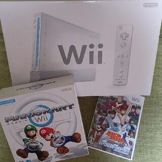 任天堂 - 任天堂Wii本体+ハンドル+ソフト2種(マリカー、メジャー)+おまけ