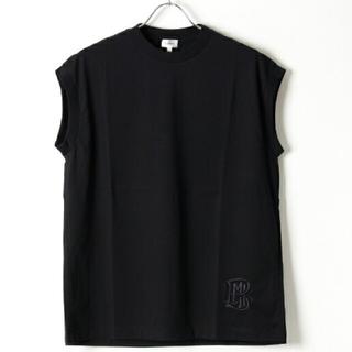 Drawer - フラミンク定番ロゴ入りノースリーブ黒フレンチスリーブカットソーTシャツ