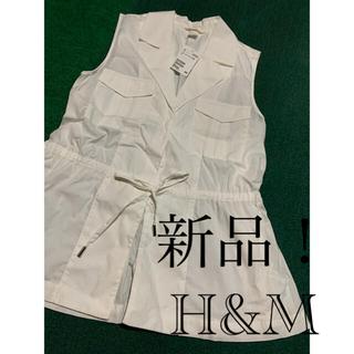 エイチアンドエム(H&M)の新品未使用 タグ付き H&M ノースリーブシャツベスト(シャツ/ブラウス(半袖/袖なし))