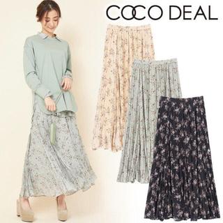 ココディール(COCO DEAL)のCOCODEAL ヴィンテージフラワープリントワッシャープリーツスカート(ロングスカート)
