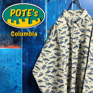 Columbia - 【コロンビア】アニマル柄フィッシュ柄総柄ロゴタグビッグフィッシングシャツ