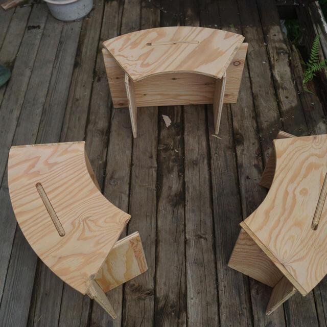 サークルテーブル ウォールナット スポーツ/アウトドアのアウトドア(テーブル/チェア)の商品写真