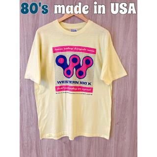 Hanes - 80's 古着 プリントTシャツ USA製 イエロー