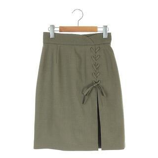 リランドチュール(Rirandture)のリランドチュール レースアップタイトスカート ひざ丈 1 カーキ 緑 グリーン(ひざ丈スカート)