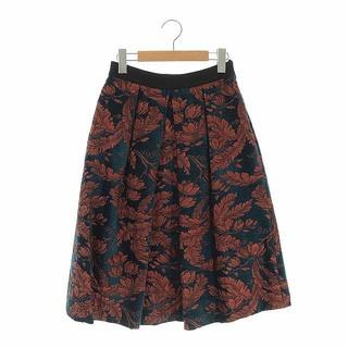 アナイ(ANAYI)のアナイ リーフジャガードミディスカート ロング フレア 花柄 38 紺 茶(ロングスカート)